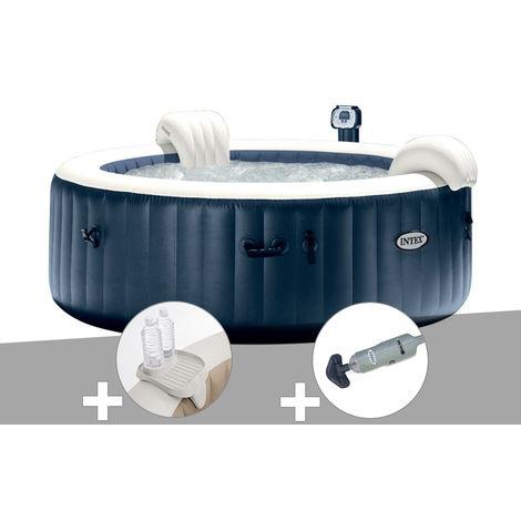 Kit spa gonflable Intex PureSpa rond Bulles 6 places Bleu nuit + Led + Porte-verre + Aspirateur