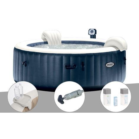 Kit spa gonflable Intex PureSpa rond Bulles 6 places Bleu nuit + Led + Porte-verre + Aspirateur + Kit traitement brome