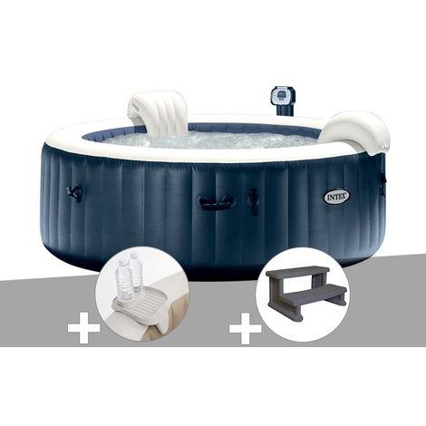 Kit spa gonflable Intex PureSpa rond Bulles 6 places Bleu nuit + Led + Porte-verre + Escalier