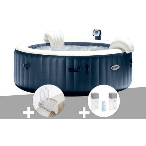 Kit spa gonflable Intex PureSpa rond Bulles 6 places Bleu nuit + Led + Porte-verre + Kit traitement brome