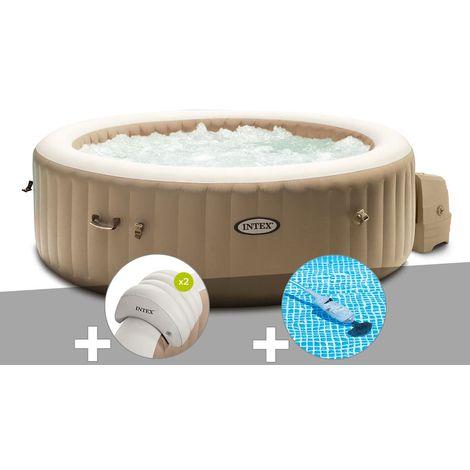 Kit spa gonflable Intex PureSpa Sahara rond Bulles 4 places + 2 appuie-têtes + Aspirateur