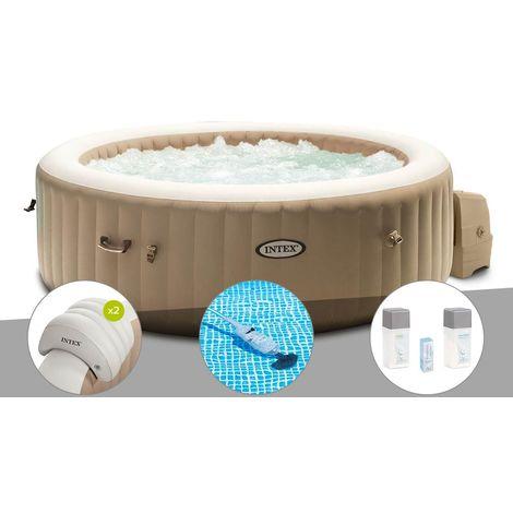 Kit spa gonflable Intex PureSpa Sahara rond Bulles 4 places + 2 appuie-têtes + Aspirateur + Kit traitement brome