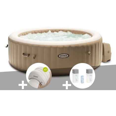 Kit spa gonflable Intex PureSpa Sahara rond Bulles 4 places + 2 appuie-têtes + Kit traitement brome