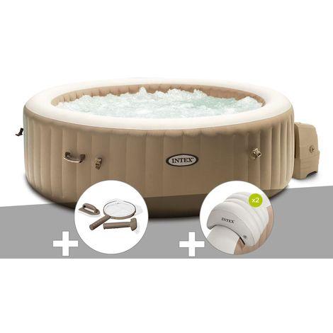 Kit spa gonflable Intex PureSpa Sahara rond Bulles 4 places + Kit d'entretien + 2 appuie-têtes