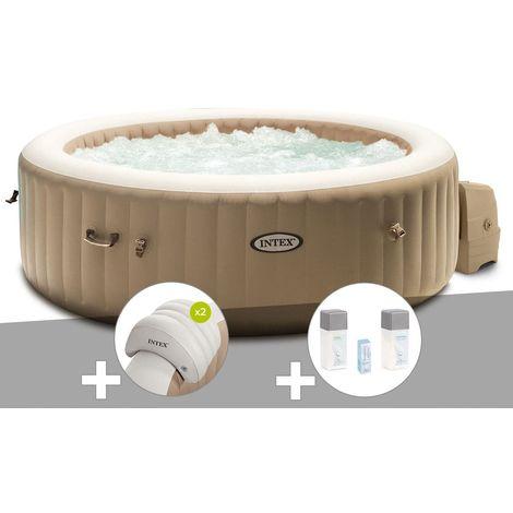 Kit spa gonflable Intex PureSpa Sahara rond Bulles 6 places + 2 appuie-têtes + Kit traitement brome