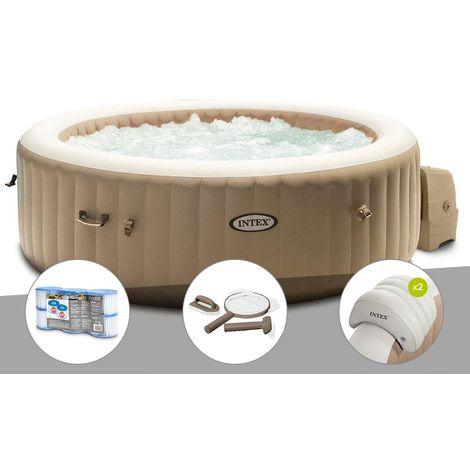 Kit spa gonflable Intex PureSpa Sahara rond Bulles 6 places + 6 filtres + Kit d'entretien + 2 appuie-têtes