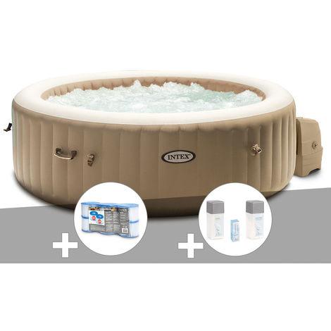 Kit spa gonflable Intex PureSpa Sahara rond Bulles 6 places + 6 filtres + Kit traitement brome