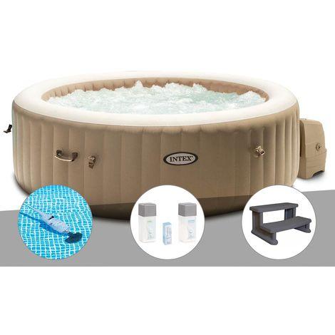Kit spa gonflable Intex PureSpa Sahara rond Bulles 6 places + Aspirateur + Kit traitement brome + Escalier