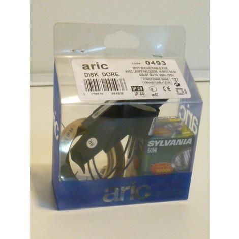 Kit spot encastrable fixe dore GU10 50w 230V DISK ARIC 0493