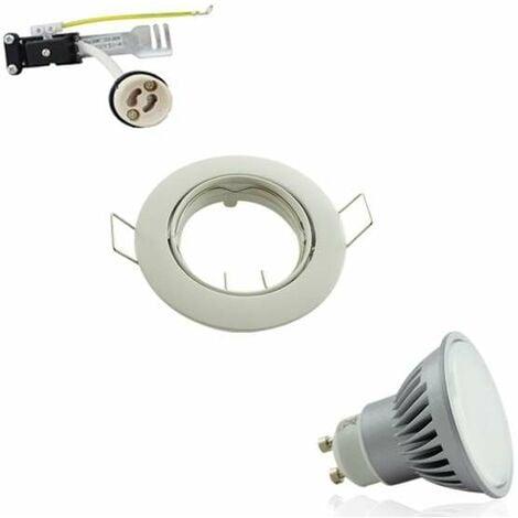 Kit Spot Encastrable Orientable Blanc LED GU10 7W (60W) Blanc Chaud 2700K