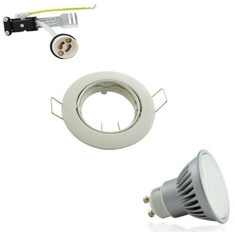 Kit Spot Encastrable Orientable Blanc LED GU10 7W (60W) Blanc Jour 5500K
