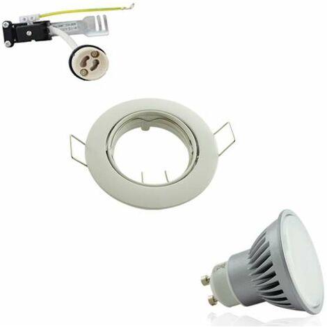 Kit Spot encastrable orientable blanc LED GU10 7W (60W) Blanc Naturel 4100K