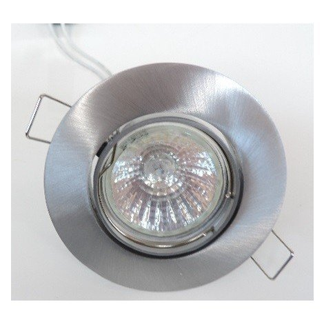 Kit spot encastré Ø 91mm alu brossé orientable avec lampe halogène 50W GU5.3 12V et transfo TBT SMARTUP SEET 7296A