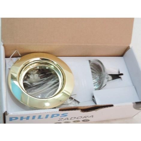 Kit spot encastré Ø 94mm doré orientable avec lampe halogène 50W G5.3 et alim 12V ZADORA QBD570 PHILIPS 574349