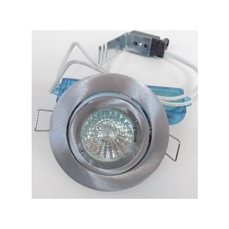 Kit spot encastré Ø 96mm alu brossé orientable avec lampe halogène 50W GU5.3 12V et transfo TBT SMARTUP SEET 7298A