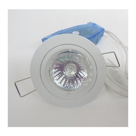 kit spot encastré halogéne 50W Ø 80mm blanc fixe avec lampe TBT 12V GU5.3 et transfo 230V IP20 SMART'UP SEET EUROPOLE 7297B