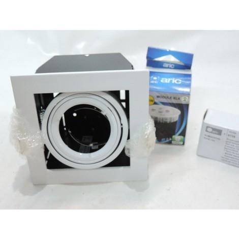 Kit spot encastré LED 4.8W carré 110X110mm blanc intérieur lumière neutre 4000K 400lm 27° avec alim 230V IP20 QUADRA ARIC 5367