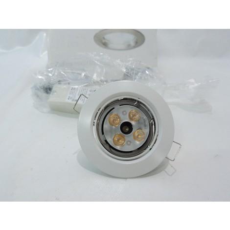 Kit spot LED 10W encastré Ø 85mm blanc orientable avec lampe WW 2700K G5.3 angle 24° et transfo 12V BBG463 ZADORA PHILIPS 894512