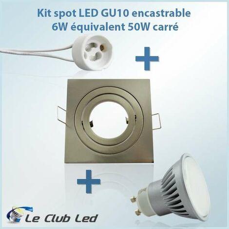 Kit Spot LED GU10 4W angle large équivalent 40W carré