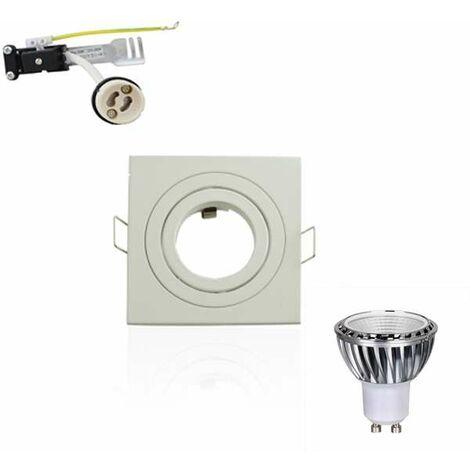 Kit Spot LED GU10 5W carré blanc lumière 50W blanc du jour 6000K Dimmable