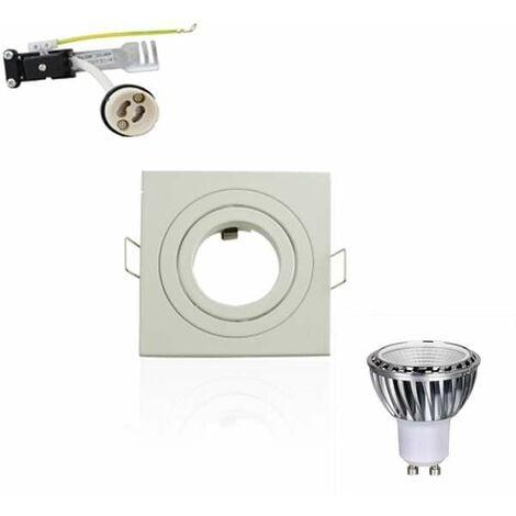 Kit Spot LED GU10 5W Carré Lumière 50W Blanc Neutre 4100K Dimmable