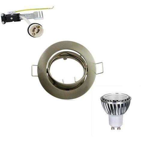 Kit Spot LED GU10 COB 5W (50W) Blanc Jour 6000K orientable Brossé