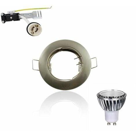 Kit Spot LED GU10 COB 5W dimmable 50W Blanc chaud 2700K fixe aluminium