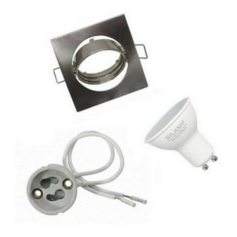 Kit Spot LED GU10 encastrable avec Ampoule LED 6W - Blanc Froid 6000K - 8000K
