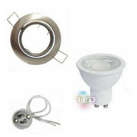 Kit Spot LED GU10 Encastrable Orientable 8W Rond Inox - Blanc Chaud 2300K - 3500K