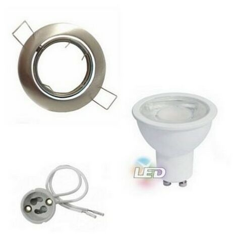 Kit Spot LED GU10 Encastrable Orientable 8W Rond Inox - Blanc Froid 6000K - 8000K