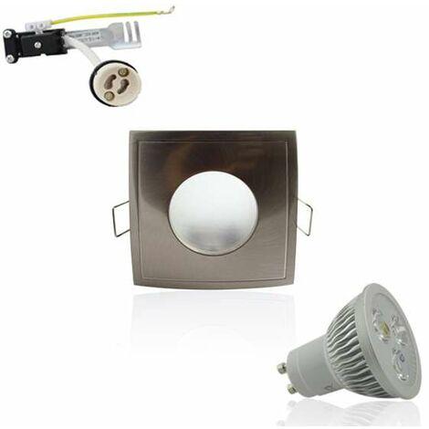 Kit Spot LED GU10 étanche 4W carré aluminium lumière 35W blanc neutre 4100K