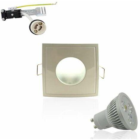 Kit Spot LED GU10 étanche 4W carré blanc lumière 35W blanc chaud 2700K