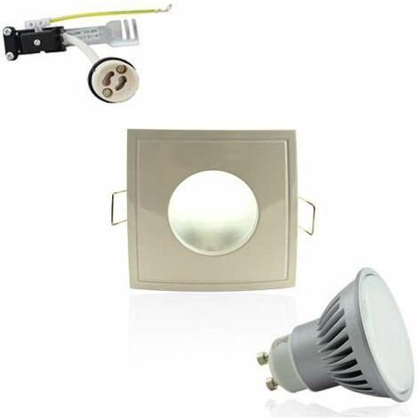 Kit Spot LED GU10 étanche 6W carré blanc lumière 50W blanc neutre 4100K