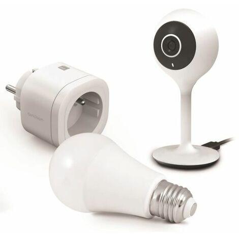 Kit Start connect Avidsen Home (caméra + prise + ampoule connectée) Prise connectée + caméra connectée fixe + ampoule connectée - Prise connectée + caméra connectée fixe + ampoule connectée