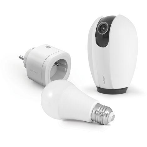Kit Start connect Avidsen Home (caméra + prise + ampoule connectée) Prise connectée + caméra connectée motorisée + ampoule connectée - Prise connectée + caméra connectée motorisée + ampoule connectée