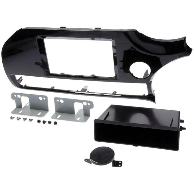 Kit support Autoradio compatible avec Kia Rio ap15 - noir brillant - avec vide-poche