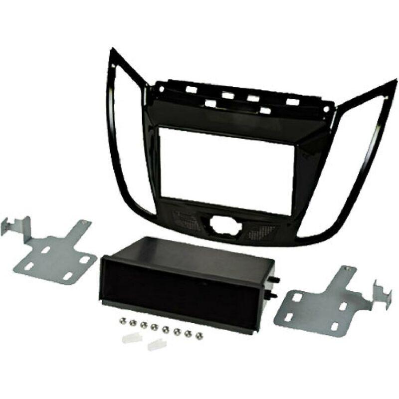 Kit support 2Din compatible avec Ford C-MAX ap10 Ford Kuga ap13 - Avec vide poche - Noir brillant