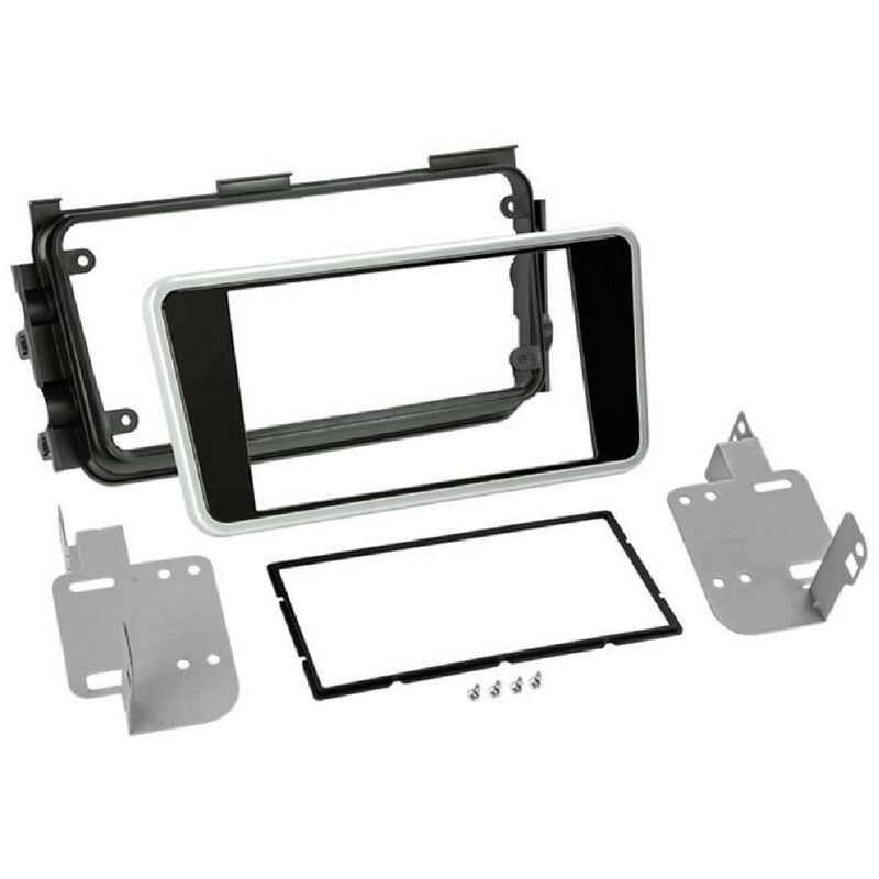 Kit support Autoradio compatible avec Nissan Micra - Noir brillant contour argent