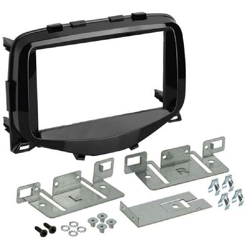 Kit support Autoradio compatible avec Citroen C1 Peugeot 108 Toyota Aygo -Noir brillant