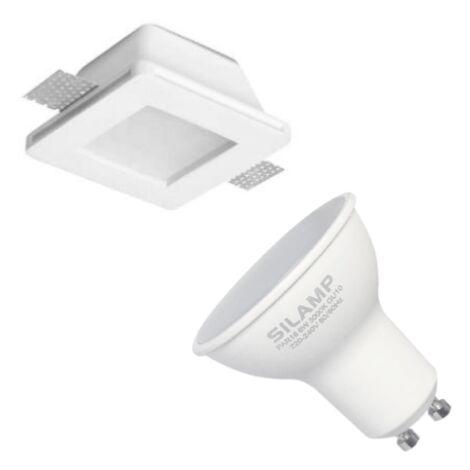 Kit Support Spot GU10 LED Carré Blanc Ø120mm + vitre opaque avec Ampoule LED 6W