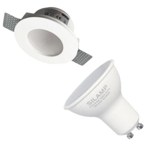 Kit Support Spot GU10 LED Rond Blanc Ø120mm + vitre opaque avec Ampoule LED 6W