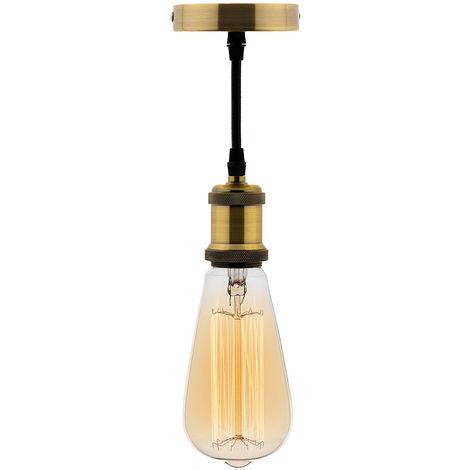 Kit suspension vintage avec câble textile et ampoule filament carbone Edison