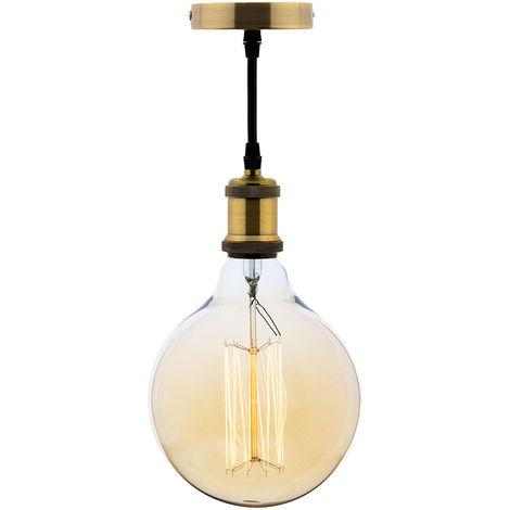 Kit suspension vintage avec câble textile et ampoule filament carbone Grand globe