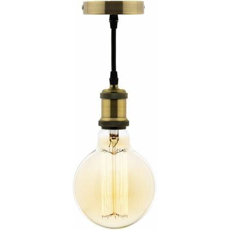 Kit suspension vintage avec câble textile et ampoule filament carbone Petit globe