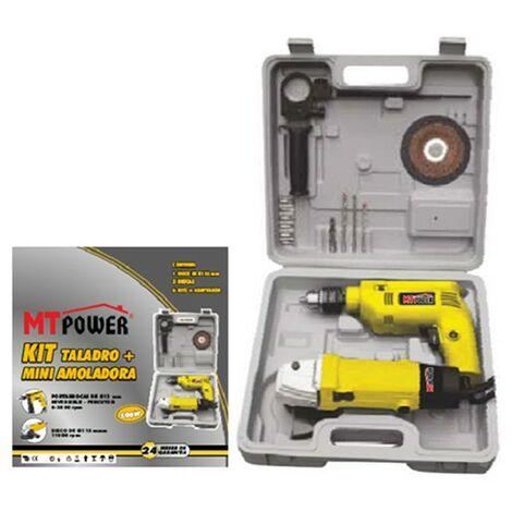 Kit Taladro 500W + Mini Amoladora 500W | Maletin de herramientas electricas | Bricolaje y carpinteria