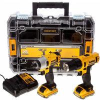 Kit taladro atornillador Dewalt DCK211D2T - taladro atornillador XR + atornillador impacto XR - 10,8 V + maletín
