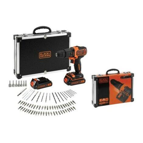 KIT: Taladro Percutor 18V 80 accesorios para taladrar y atornillar, cargador y maletín (BDCHD18BAFC-QW) BLACK&DECKER