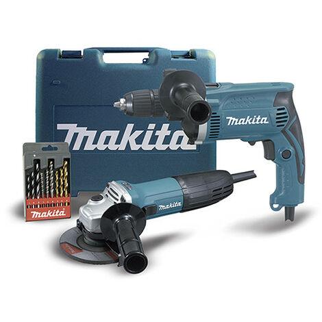 Kit Taladro Percutor HP1631 y Mini amoladora 115mm GA4530R Makita
