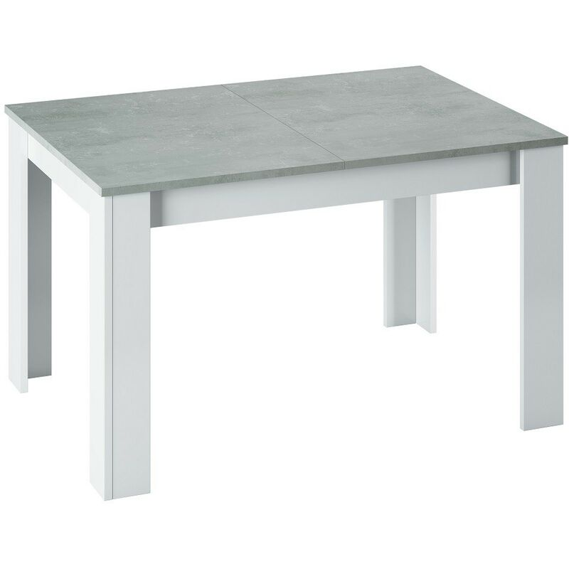 Kit tavolo allungabile kendra cm 90x140/190x78 bianco / cemento - Salone