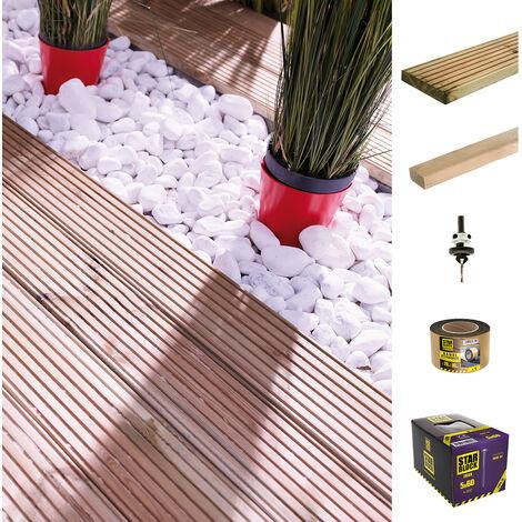 Kit terrasse 10m² | Marcelo marron 145 x 28 x 2400mm Classe 3